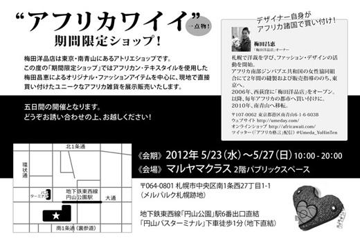 アフリカワイイ!期間限定ショップ開催 2012年5月23日から27日まで